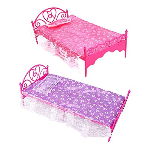 Bluelans 1 x Beautiful Plastic Bedroom Furniture Bed Set for Barbie Dolls Dollhouse (Random Color)