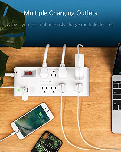 BESTEK 8-Outlet 12 Feet Extension Cord Power Strip with USB 15A 1875W Surge Protector with 5V 4.2A 4 USB Charging Port Desktop Charging Station,600Joule,Ultra-Compact Wide Spaced Outlet for Large Plug