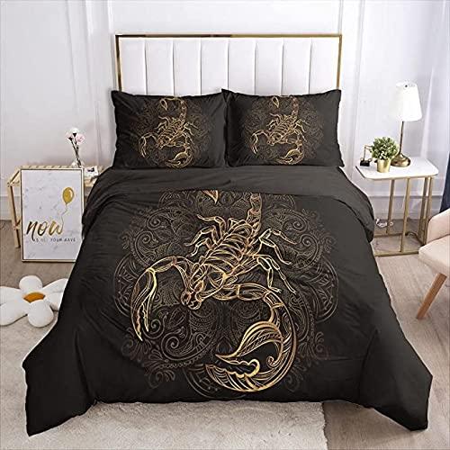 MQIQI Juego de Camas de Microfibra Golden Scorpion Cubierta de Colcha Negra y 2 Almohadas con Cremallera Decoración de Dormitorio (Size : 90x190cm+65x65cm)
