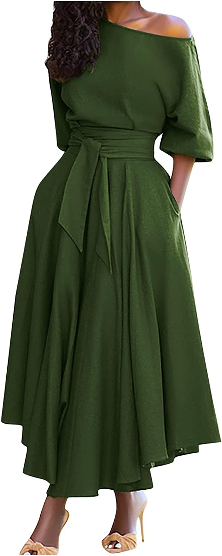 Womens Sales for sale Max 90% OFF Long Dresses Elegant Pure One Shoulder Off Sleeve Color