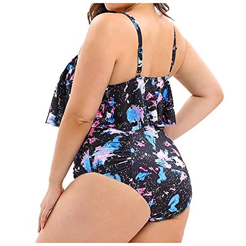 Traje de baño para mujer de una pieza de color bloque de un hombro, traje de baño Bowknot un material cómodo y delgado adecuado para la playa, fiestas en la piscina, etc. multicolor XXL