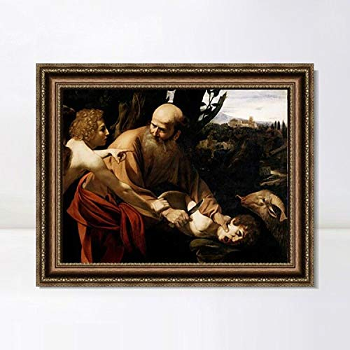 """INVIN ART Framed Canvas Art Giclee Print The Sacrifice of Isaac by Michelangelo Merisi da Caravaggio Wall Art Living Room Home Office Decorations(Vintage Embossed Gold Frame,32""""x40"""")"""
