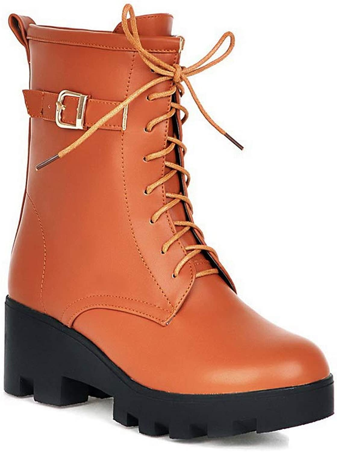 BalaMasa Womens Casual Travel Solid Leather Boots ABL10727
