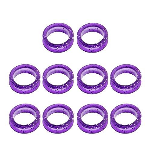 10 Unids Suave Anillo de Dedo de Caucho Anillo Protector para Tijeras de Peluquería - Púrpura