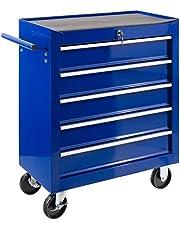 Arebos Carro de taller con 5 compartimentos, con cerradura central, revestimiento antideslizante, ruedas con freno de estacionamiento, metal macizo, rojo, azul o negro.