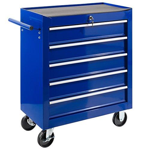 Arebos Werkstattwagen 5 Fächer | zentral abschließbar | inkl. Antirutschmatten | kugelgelagerte Schubladen | 2 Rollen mit Feststellbremse (blau)
