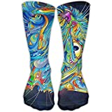 Nifdhkw Trippy Cat Unisex Novelty Crew Socks Ankle Dress Socks Fits Shoe Size 6-10