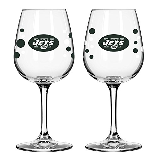 New York Jets PolkaDot Wine Glass 12 oz. 2 Pack