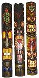 40 In Set of 3 Tribal Polynesian Tiki Bar Turtle Pineapple Design Masks Hand Carved Island tropical Decor
