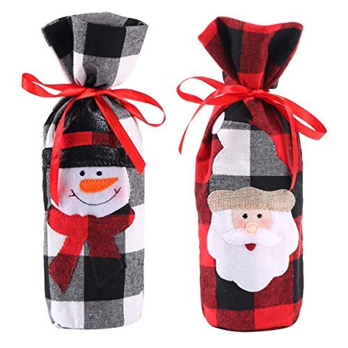 Amosfun - 2 sacchetti natalizi per bottiglie di vino, motivo Babbo Natale, pupazzo di neve, decorazione per bottiglie di vino e champagne per ufficio, negozi, bar, casa