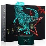 3D Dinosaurier Nachtlicht,7 Farben Berührungssteuerung Zuhause Dekor Tischleuchte,Optische Illusion...