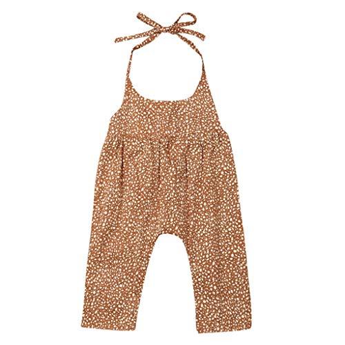 Moneycom Bebe Naissance Body Coton Vetement Bapteme Cute Romper Chic Fashion Toddler Kids Baby Fille Sling Floral Print Combi-Short Combi Vêtements Sunsuit Outfit Jaune(2-3 Ans)