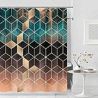 AUGHTM 大理石模様のバスカーテン防水シャワーカーテンバスルームカーテン用の幾何学的なプリントカーテン