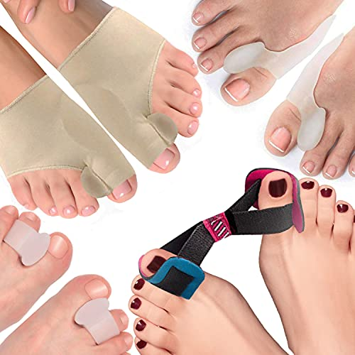 relief for bunions Bunion Corrector and Bunion Relief Sleeves Kit - Hallux Valgus Bunion Protector - Bunion Toe Separator, Toe Spacer, Toe Straightener and Toe Spreader - 7 Pieces