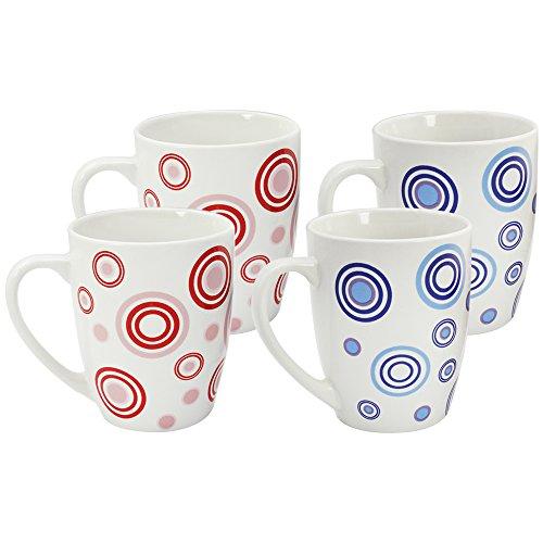 com-four® 4x Kaffeebecher aus Keramik - Kaffee-Tasse farbig mit Kreis-Design - Kaffeepott für Kalt- und Heißgetränke - 325 ml (04 Stück - rot/blau)