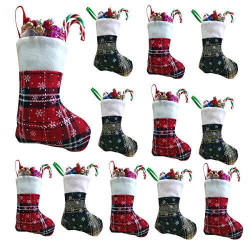 Vanteriam 7 inch Mini Christmas Stockings 12 Pack, Rustic Personalized Red and Green Plaid Design with Snowflake and Fleece Cuff, Great Addition to Holiday Decorations & Seasons Decor