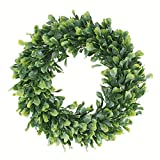 """Geboor Faux Boxwood Wreath, 15"""" Artificial Green Leaves Wreath for Front Door Hanging Wall Windows Decoration Holiday Festival Wedding Decor"""