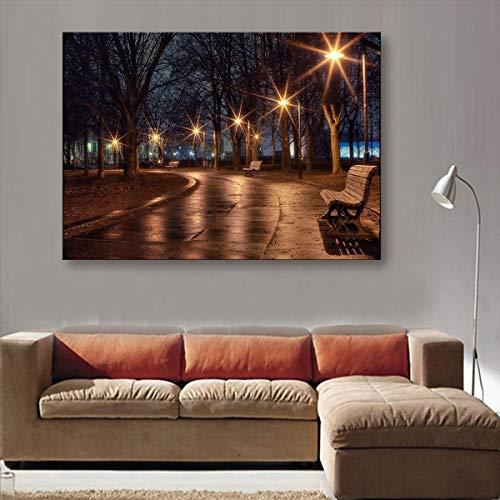 Impressions sur Toile Réverbères LED Clignotant Fibre Optique Impression LED Mur Art Décoration Peinture LED,50x50cm