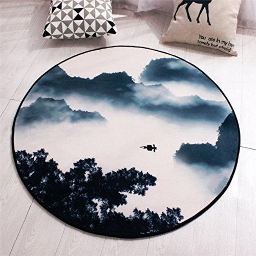 Good thing tapis Tapis rond anti-dérapant paysage peinture tapis ordinateur chaise pad panier tapis tapis de tente, tapis de chevet, imperméable à l'eau (taille : Diameter 120cm)