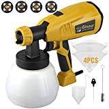Paint Sprayer Gun with 1300ml Detachable Container,Ginour 800ml/min HVLP Electric Spray Gun wtih 3 Spray Patterns & 4 Nozzle Sizes & 4 PCS Filter Paper, Flow Control and Perfect for Spraying Work