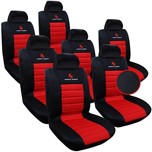 WOLTU 7X Fundas de Asiento para Coche Universal Delantero y Traseros Cubierta para Asiento Automóvil sin Bolsa de Aire 100% Poliéster Negro/Rojo AS7757-7