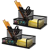 Ludato 2 Pieces Mesh Pen Holder Desk Organizers,3 Compartments Black Mesh Pencil Holder for Desk Gifts for Husband