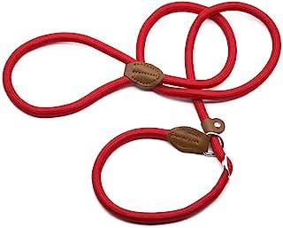 Supet Laisse Dressage Chien Collier Laisse Chien Laisse Lasso Laisse en Cuire Laisse Educative Sangle pour Chien 2 en 1 Co...