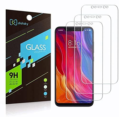 Didisky Pellicola Protettiva in Vetro Temperato per Xiaomi Mi 8 / Mi 8 PRO, [3 Pezzi] Protezione Schermo [Tocco Morbido ] Facile da Pulire, Facile da installare, Trasparente