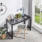 Symylife Escritorio de computadora Moderno Mesa de Trabajo Mesa de computadora Estación de Trabajo Escritorio de Oficina con Madera y Metal Acero, 120x60x75cm, Negro