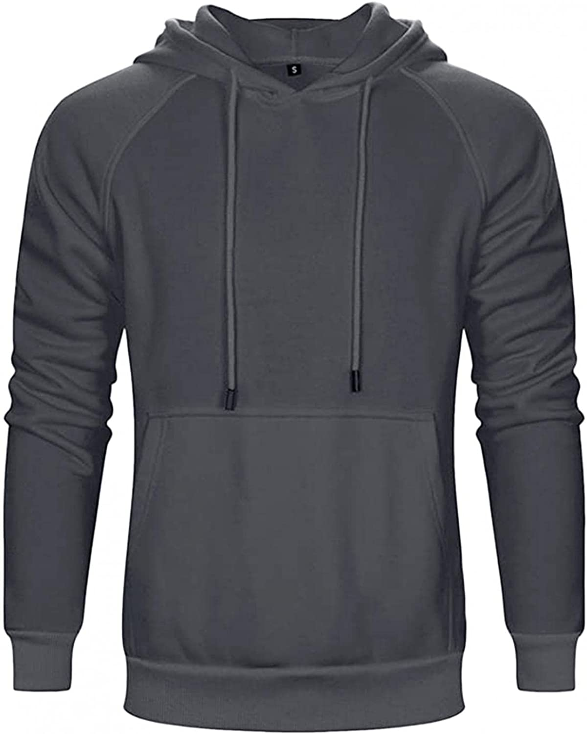 Mens Hooded Sweatershirts Long Sleeve Drawstring Pullover Tops Classic-Fit Plaid Jacquard Hoodies Casual Slim Blouse