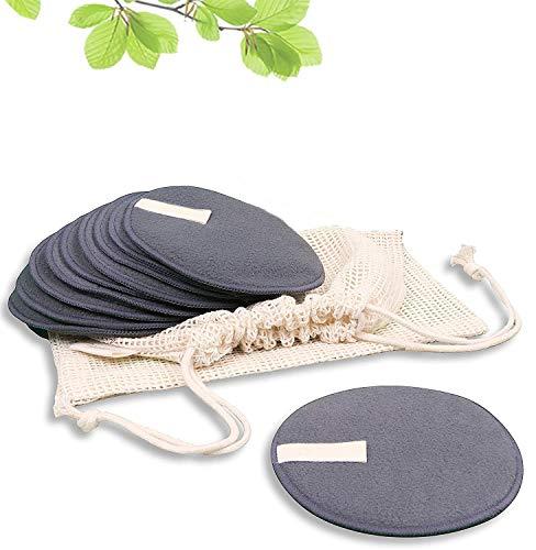 Lot de 10 tampons démaquillants réutilisables, lavables en coton de bambou, pour tous les types de peau   Écologiques et réutilisables