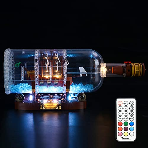 BRIKSMAX Led Lighting Kit for Ship in a Bottle - Compatible with Lego 21313 92177 Building Blocks Model- Upgraded Version with Remote Control - Not Include The Lego Set