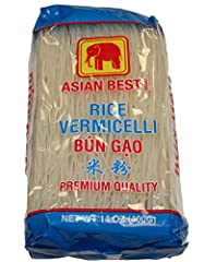 Premium Quality Rice Vermicelli - Bun Gao Net Wt 14oz (400g) Product of Vietnam Ingredient: Rice, Water, and Tapioca starch