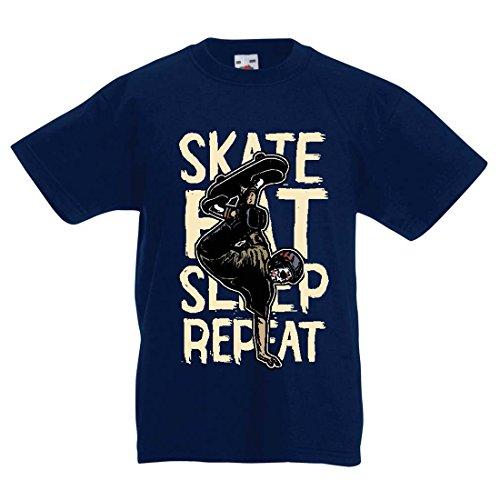 Kinder T-Shirt Eat-Sleep-Skate-Repeat Fro Skateboard Liebhaber, Skateboarder Geschenke, Skateboarden Kleidung (14-15 Years Dunkelblau Mehrfarben)