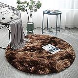 ZHOUZEKAI Alfombra Redonda, Alfombra Antideslizante para el hogar, Adecuado para la decoración de Salas de Estar y dormitorios alfombras oscuras y claras (café, 100 cm)