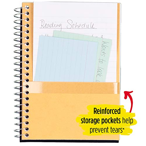 """Five Star Spiral Notebook, 2 Subject, College Ruled Paper, 100 sheets, 9-1/2"""" x 6"""", Black (72285) Photo #4"""