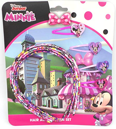 TDL Disney Minnie Mouse Set - 4 Haarreifen & 4 Haarklips - Offiziell Lizensiert - 4 Head Band and Clip Set