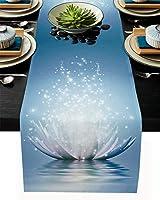 テーブルランナー 花柄 抽象 青い 蓮 テーブルクロス モダン 北欧風 プレースマット レストラン用 滑り止め 上品 断熱 食卓飾り お食事マット おしゃれ インテリア 33x274cm