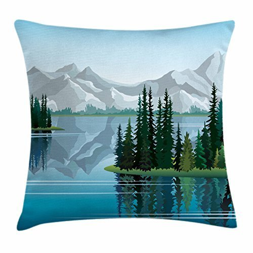 But why miss River Throw Pillow Cushion Cover, Idyllic Mountain with Set of Pine Trees Reflection in Calm Clear Water, Decorative Square Accent Pillow Case, 18 X 18 Inches, Blue Pale Grey Dark Green