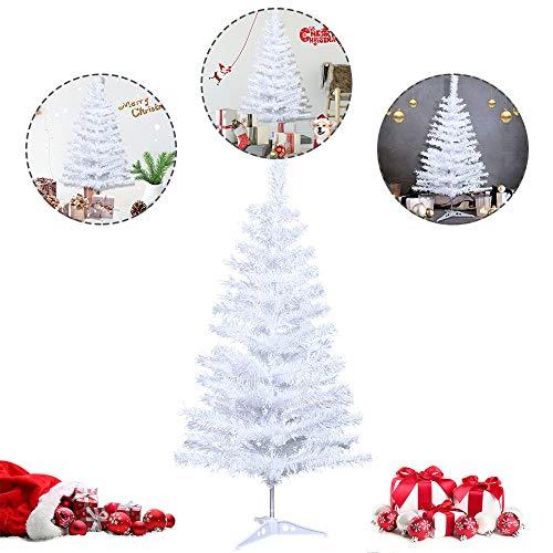 LARS360 Künstlicher Weihnachtsbaum Christbaum Tannenbaum inkl. ständer Künstliche Tanne mit Klappsystem Für Aussen Weihnachtsdeko Innen Weihnachten-Dekoration Innen (Weiß PVC, 90cm)