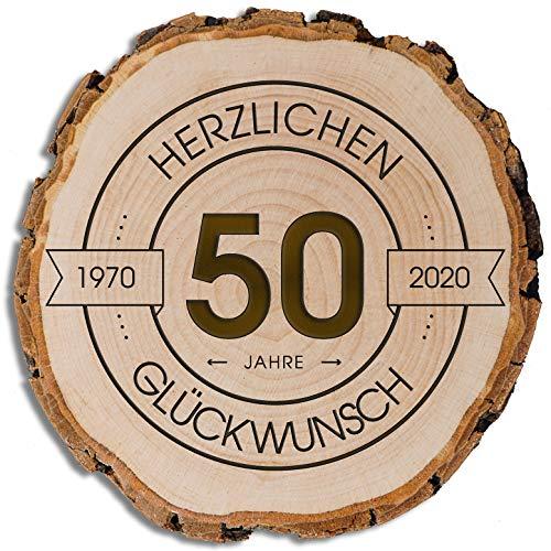DARO Design - Baumscheibe mit Rinde und Gravur Größe S 16-19cm - 50 Jahre Herzlichen Glückwunsch - Geschenk zum Jubiläum, Geburtstag, Jahrestag