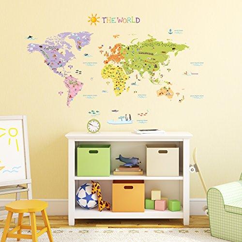 DECOWALL DMT-1306N Mappa del Mondo Colorato Peel and Stick Parete decalcomania Adesivi 128.5 x 71.5cm(Grande) (Ver. Inglese)