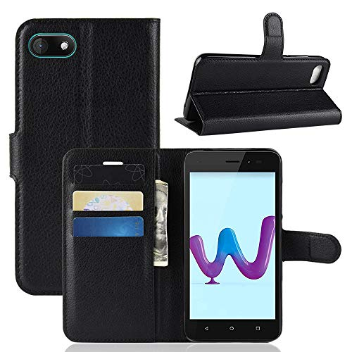 Ycloud Tasche für Wiko Sunny 3 Hülle, PU Kunstleder Ledertasche Flip Cover Wallet Hülle Handyhülle mit Stand Function Credit Card Slots Bookstyle Purse Design Schwarz