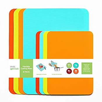 Simply Genius  8 Piece  Extra Thick Cutting Boards for Kitchen Prep Non Slip Flexible Cutting Mat Set Dishwasher Safe BPA Free Plastic Colorful Chopping Mats for Meat and Vegetables
