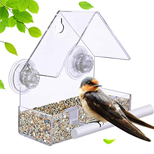 Extra Strong Suction Sups Window Bird Feeder. with Drainage Holes. Windowsill Birdfeeders for Small Birds only. LIANGPIN Acrylic Clear House Shape Design