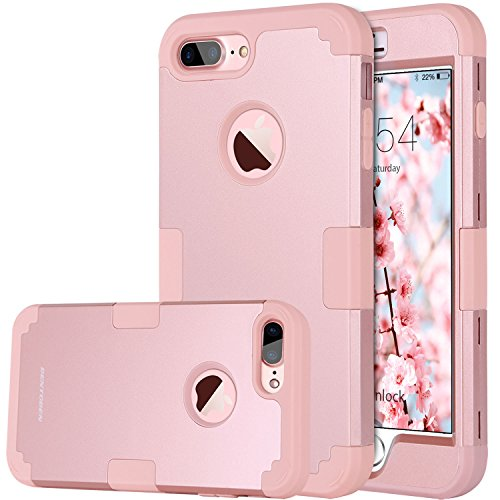 BENTOBEN Funda iPhone 8 Plus, Funda iPhone 7 Plus Original, 3 en 1 Carcasa Combinada PC Dura y Silicona TPU Resistente PC Bumper Fuerte Protectora Funda para iPhone 7 Plus/8 Plus (5.5