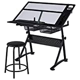 Topeakmart Height Adjustable Drafting Desk Artist Drawing Table Tilted Tabletop Art Desk Work Station w/2 Storage Drawers and Stool for Home Office