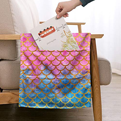 WELLFLYHOM Fish Scales Remote Control Holder Over The Couch Bed Sofa Armrest Hanging Storage Bag Large Couch Bedside Armchair Caddy Hanging Organizer for Recliner Bed Non Slip