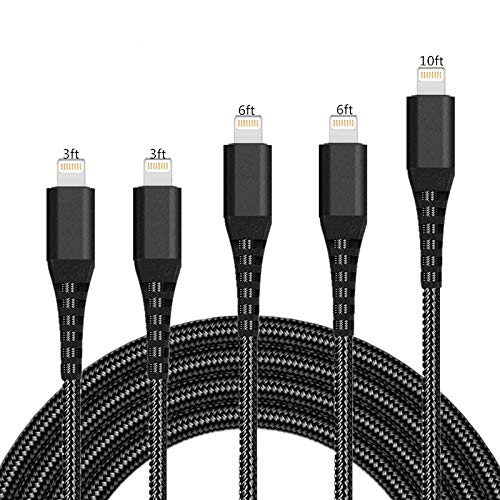 iPhone Charger Cable Lightning Cable SHARLLEN 5 Pack [3FT/3FT/6FT/6FT/10FT] Nylon Braided Lightning Cord Fast Long Cords iPhone Charging Cable Compatible/XS/Max/X/8 Plus/8/7/7P/iPad/iPod Black