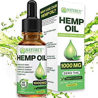 Organic Hemp Oil 1000MG - Ultra-Premium Pain Relief Anti-Inflammatory, Stress & Anxiety Relief, Joint Support, Sleep Aid, Omega Fatty Acids 3 6 9, Non-GMO Ultra-Pure CO2 Extracted Extract Drops from Nature's Beneficials